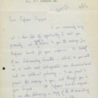 Lettre de Greville Janner à Ilya Prigogine - 16 juin 1922