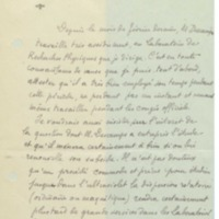 Lettre d'Aimé Cotton à la Commission administrative de l'Institut international de chimie Solvay - 19 octobre 1924
