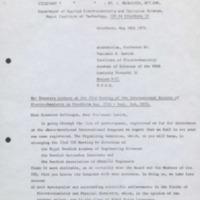 Lettre de Gosta Wranglen à Venjamin Levich - 18 mai 1972