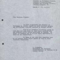 Lettre d'Ilya Prigogine à Alexander Frumkin - 23 mai 1972