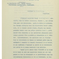 Lettre du « Conseil Scientifique International de l'Institut international de Physique Solvay » à Ernest Solvay - 09 août 1912
