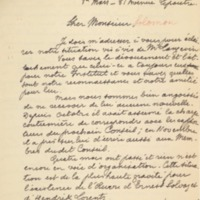Lettre de Charles Lefébure à Jacques Salomon