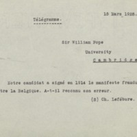 Télégramme de Charles Lefébure à William Pope - 15 mars 1928