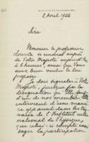 Lettre de Charles Lefébure à Albert Ier (roi des Belges)