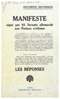 « Manifeste signé par 93 Savants allemands aux Nations civilisées : les réponses », Paris, Imprimerie Descamps, 1915 »