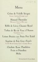 Banquet : menu, cinquième Conseil de chimie Solvay