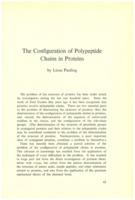Extrait de PAULING Linus, « The Configuration of Polypeptide Chains in Potein » dans Institut international de chimie Solvay (1953). <em>Les protéines: rapports et discussions : neuvième Conseil de chimie tenu à l'Université de Bruxelles du 6 au 14 avril 1953.</em> 1953: R. Stoops