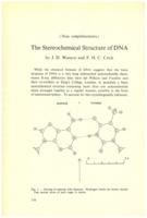 Extrait de WATSON James .D. et CRICK Francis H.C., « The Stereochemical Structure of DNA&nbsp;» dans Institut international de chimie Solvay (1953). <em>Les protéines: rapports et discussions : neuvième Conseil de chimie tenu à l'Université de Bruxelles du 6 au 14 avril 1953.</em> 1953: R. Stoops