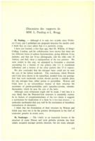 Extrait de la « discussion des rapports de MM. L. Pauling et L. Bragg »dans Institut international de chimie Solvay (1953). L<em>es protéines: rapports et discussions : neuvième Conseil de chimie tenu à l'Université de Bruxelles du 6 au 14 avril 1953.</em> 1953: R. Stoops