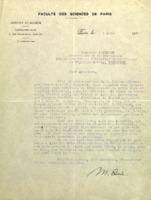 Lettre de Marie Curie à Charles Lefébure
