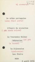 Banquet : menu n°1, neuvième Conseil de chimie Solvay